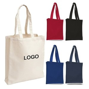 Promotional Cheap Canvas Tote Book Shopping Bag With Gusset