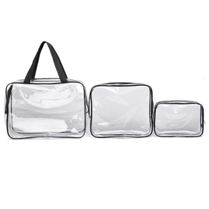3 Pieces Clear PVC Cosmetic Bags