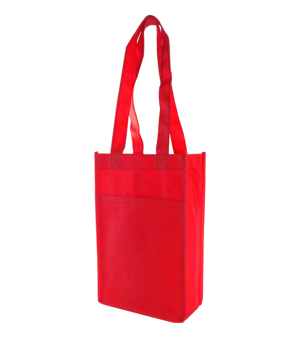 Printed Logo Non-woven Wine Two Bottle Tote Bags