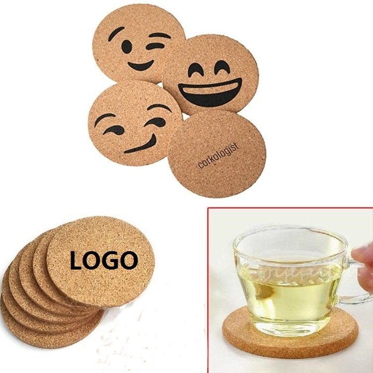 "Customized 4"" Round Cork Cup Mat"
