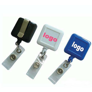 Square Badge Reel with Slide Clip