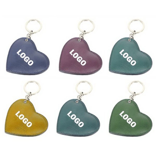 Imprinted Faux Leather Deluxe Heart Shape Key Ring Keychain