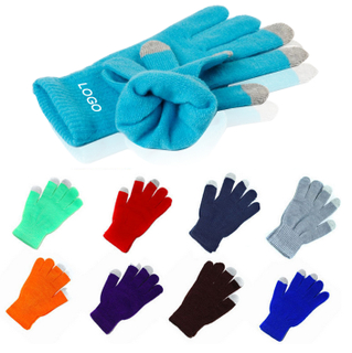 Acrylic Touch Screen Knitted Winter Gloves