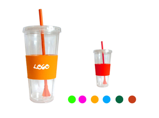 22 oz. Double Wall Custom Tumbler With Straw