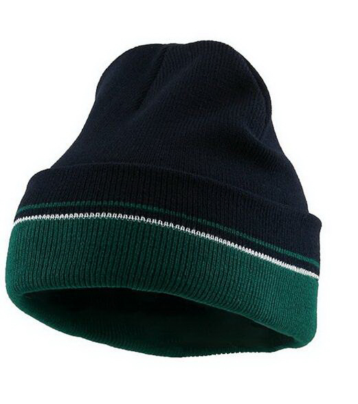 Double Layer Two-Tone Knit Beanie With Cuff