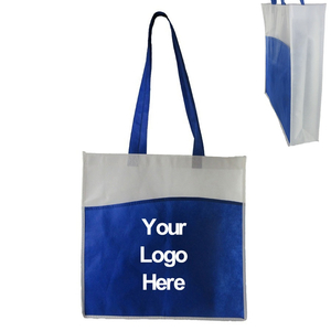 Two-tone Non-woven Tote Bag with Front Pocket