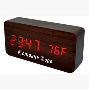 Print Modern Rectangular Desk Alarm Wood Clock