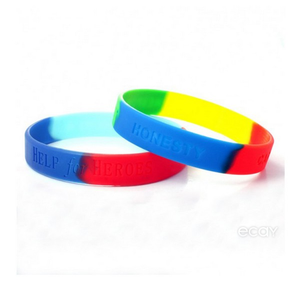 Custom Debossed Segmented Mix Color Silicone Wrist Bands