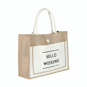 Two Tone Jute Beach Grocery Tote Bag with Front Pocket