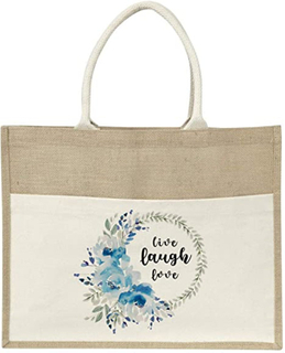 Large Jute Burlap Tote Shopping Grocery Bag with Front Canvas Pocket